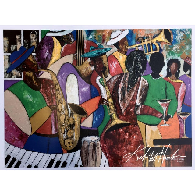 "A signed poster print by Keith W. Henderson of his 2005 painting ""B' More Jazz"". This poster was presented for the..."