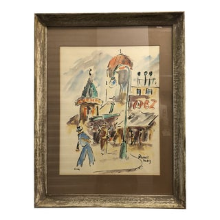 """Vintage """"Paris Street Scene"""" Watercolor Painting by Fred Roner For Sale"""
