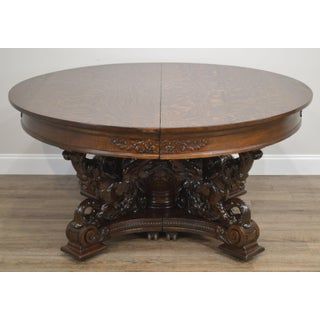 "Horner Antique 60"" Round Oak Carved Winged Griffin Dining Table Preview"