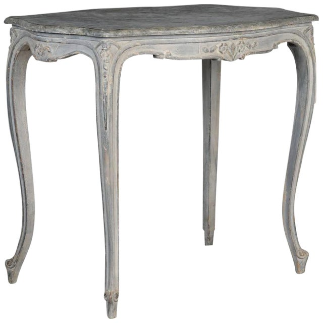 Antique French Painted and Carved Blue Side Table c.1920 - Image 1 of 10