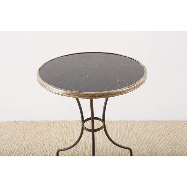 French French Belle Époque Iron and Marble Bistro Cafe Table For Sale - Image 3 of 13