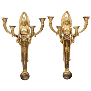 Pair French Third Empire Ormolu Sconces Signed, 19th Century For Sale