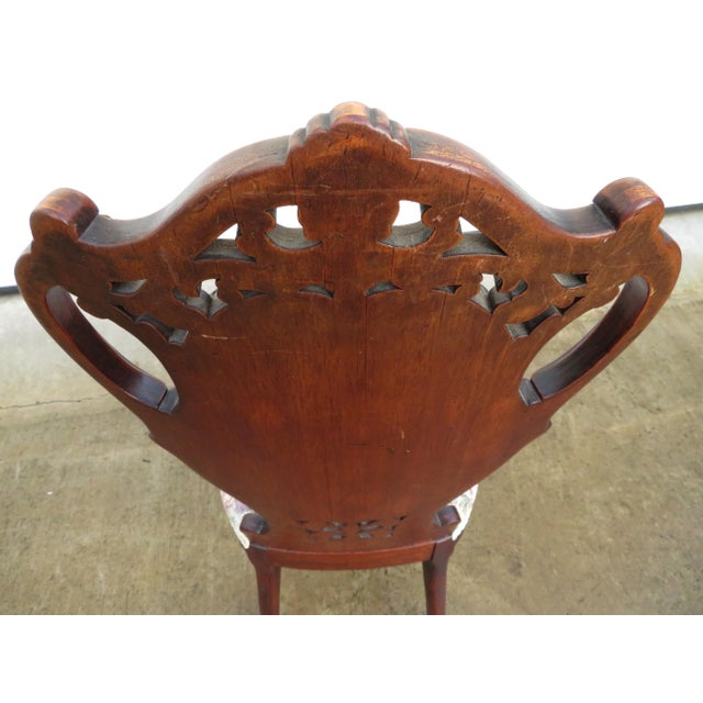 Late 19th Century Antique French Carved Mahogany Art Nouveau Side Chair For Sale - Image 12 of 13
