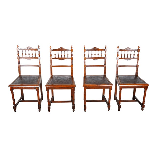 Antique Set of 4 French Henri II Oak Dining Chairs For Sale