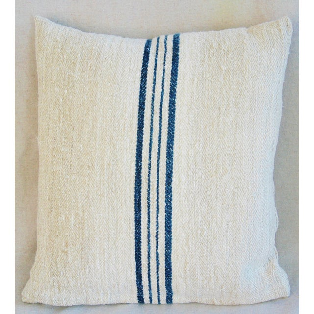 Blue Striped French Grain Sack Pillows - A Pair - Image 4 of 11