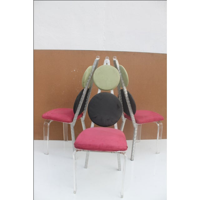 Vintage Lucite & Aluminum Dining - Chairs Set of 3 For Sale - Image 4 of 11