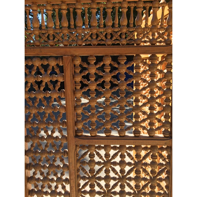 Americana Vintage Carved Wooden Folding Screen For Sale - Image 3 of 4