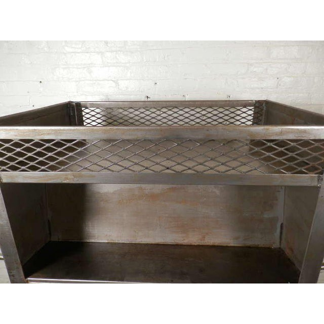 Gray Large Industrial Metal Rolling Cart For Sale - Image 8 of 9