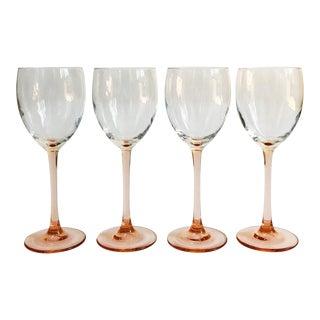 Vintage Pink Stem Wine Glasses - Set of 4 For Sale