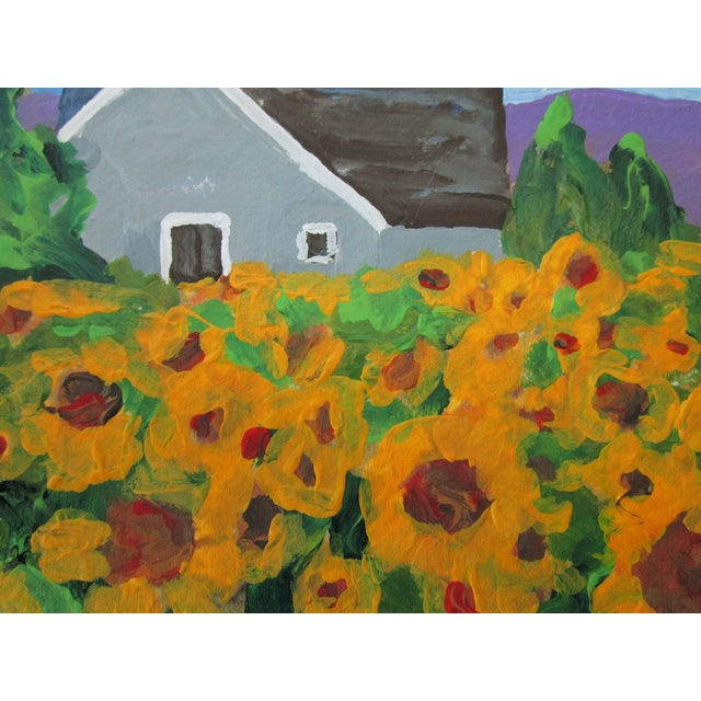 Farmhouse Cottage California Plein Air Landscape Sunflower Farm 5x7 Painting by Lynne French For Sale - Image 3 of 7