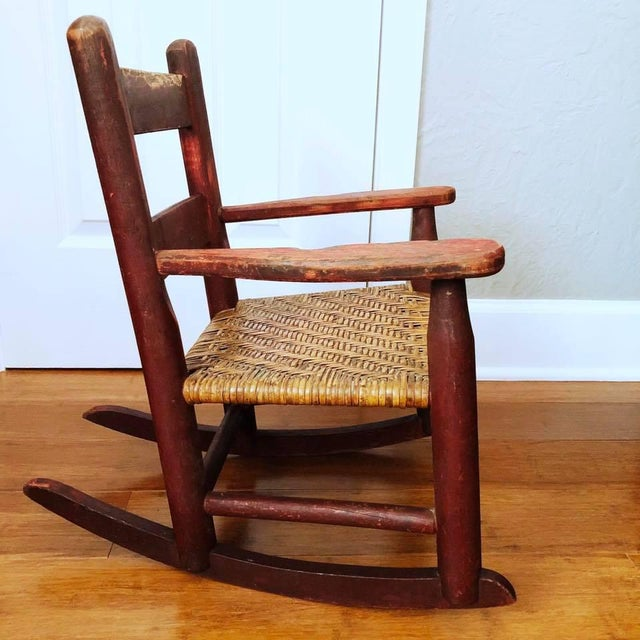 Antique Handmade Children's Red Rocking Chair With Wicker Seat For Sale - Image 4 of 9
