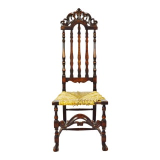 Antique Gothic High Back Carved Wood Rush Seat Chair