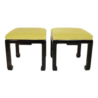 Asian Style Stools With Embossed Greek Key Pattern Fabric - a Pair For Sale