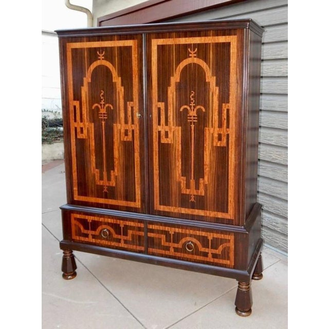 Art Deco Swedish Art Deco Inlaid Rosewood Storage For Sale - Image 3 of 9