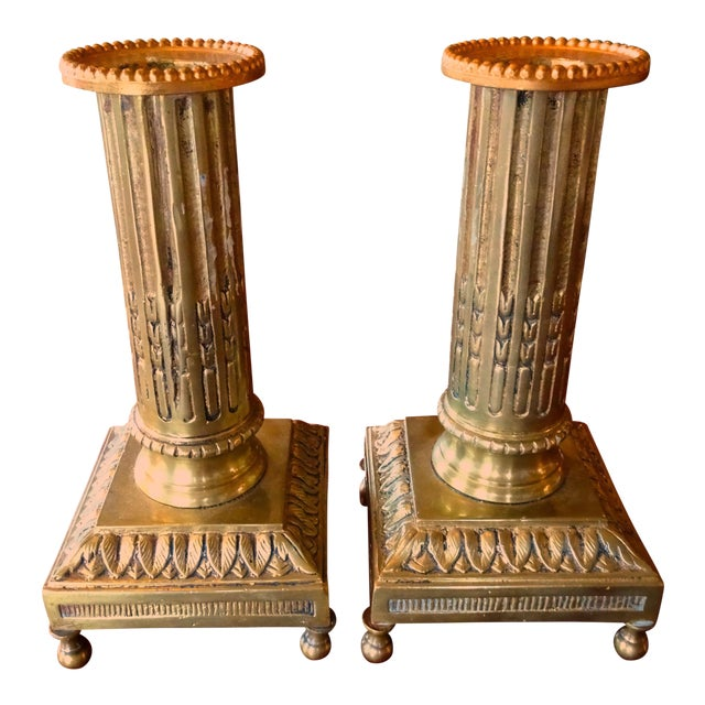 19th Century Bronze Fluted Candle Holders - a Pair For Sale