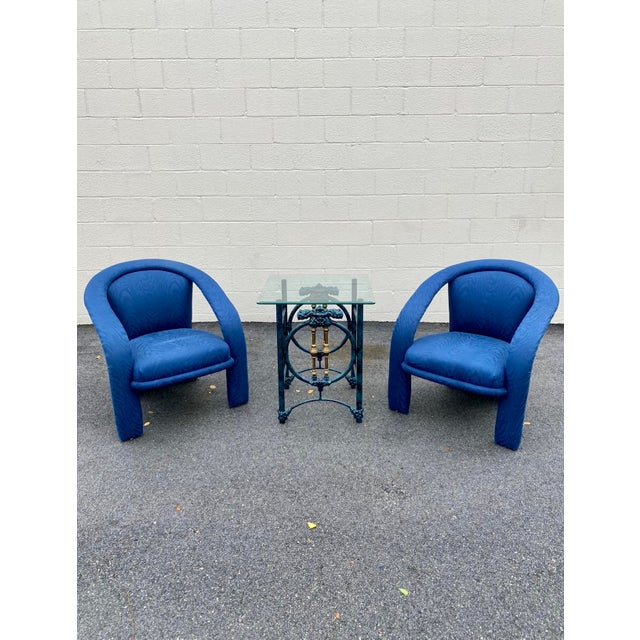 Carson's Blue Upholstred Sculpture Chairs - a Pair For Sale - Image 9 of 12
