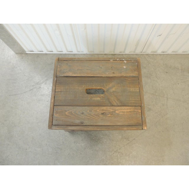 Rustic Primitive Style Artisanal Rectangular Step Stool Carrying handle in the middle of he top with grayish color...