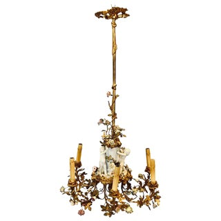 19th Century Louis XVI Gilt Bronze Meissen and Sevres Parian Chandelier For Sale
