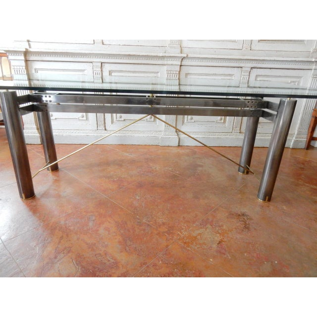 1970s Mid-Century Modern Glass and Metal Dining Table For Sale - Image 5 of 8