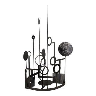 20th Century Contemporary Abstract Steel Aluminum Circular Table Sculpture For Sale
