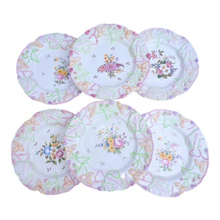 1970's Italian Majolica Botanical Vine Plates - Set of Six For Sale