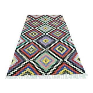 Vintage Turkish Antalya Nomads Kilim Rug-4′11″ × 8′2″ For Sale