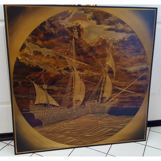 """RUDY LECHLEITER """"Spanish Vessel"""" Brass/Copper ETCHING FRAMED. 36"""" x 36"""" Signed by the artist. Circa 1990. The minor..."""