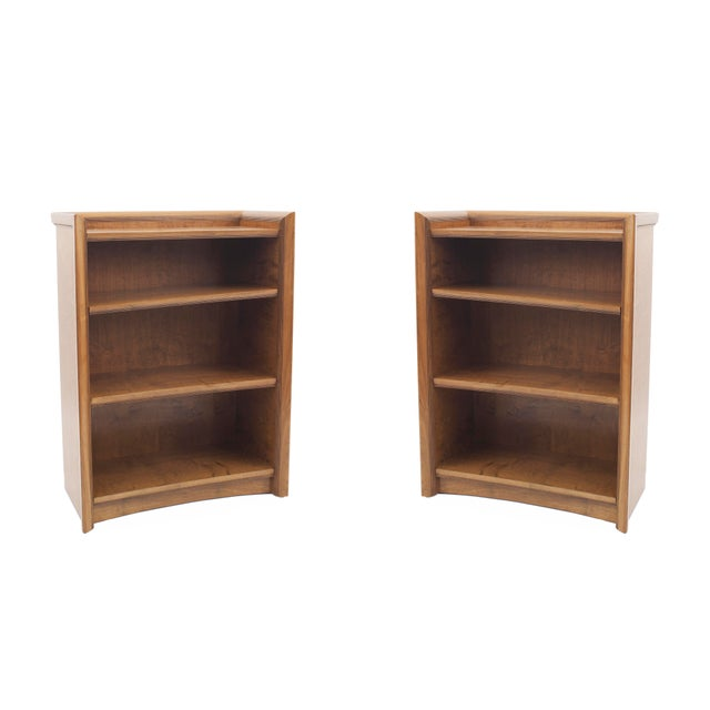 Pair of American Midcentury 1950s Maple Bookcase Cabinets For Sale - Image 4 of 4