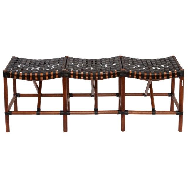 Coastal Malibu Bench, Chocolate, Rattan For Sale - Image 3 of 3