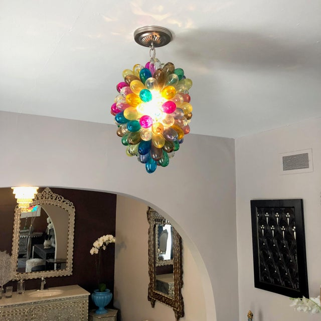 2010s Light Fixture of Stained Hand Blown Glass For Sale - Image 5 of 10