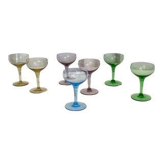 Mid Century Champagne Coupes - Set of 7 For Sale