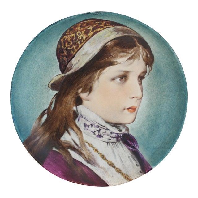 P.J. Ulrich Antique Porcelain Hand Painted Portrait Plate For Sale