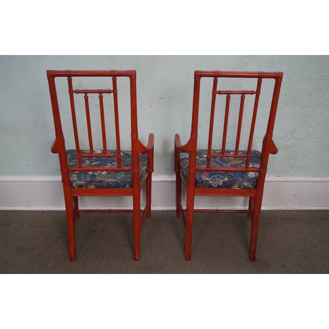Drexel Heritage Vintage Faux Bamboo Painted Dining Chairs - 6 - Image 4 of 10