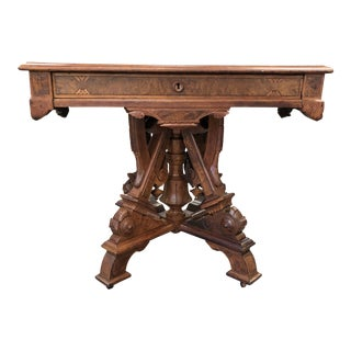 19th Century Victorian Renaissance Revival Library Table For Sale
