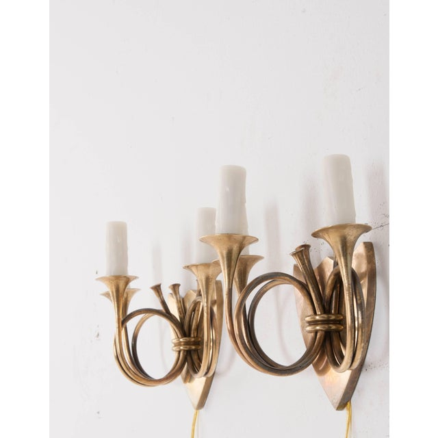 English 19th Century Brass Horn Sconces - a Pair For Sale In Baton Rouge - Image 6 of 11