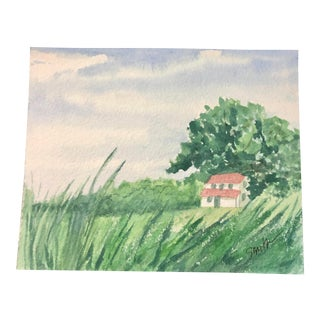 "Nancy Smith Original Watercolor Miniature Landscape, ""Where the Redbirds Sing"" For Sale"