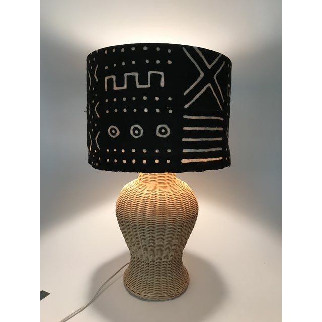 Wicker Ginger Jar Table Lamp With Mud Cloth Drum Shade For Sale - Image 10 of 13