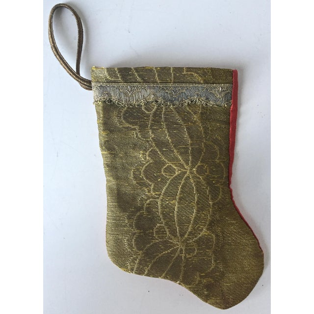 Antique Gold Brocade Stocking Ornament - Image 2 of 6