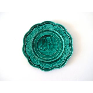 Antique French Majolica Barbotine Rubelles Green Tin-Glazed Plate Preview