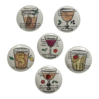 Piero Fornasetti Drinks Coasters - Set of 6 For Sale