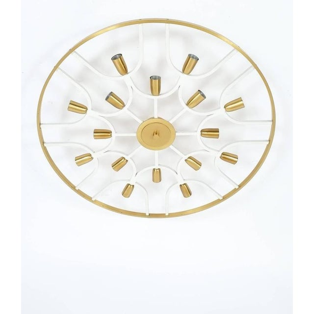 Grand Ornamental Italian Brass Chandelier Or Flush Mount Lamp, circa 1960 For Sale - Image 6 of 7