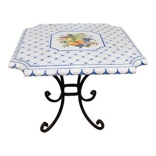 Signed Vintage Porcelain Top Table For Sale