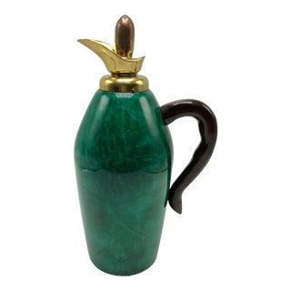 1960s Aldo Tura Emerald Green Goatskin and Brass Thermos Carafe, Circa 1960 For Sale