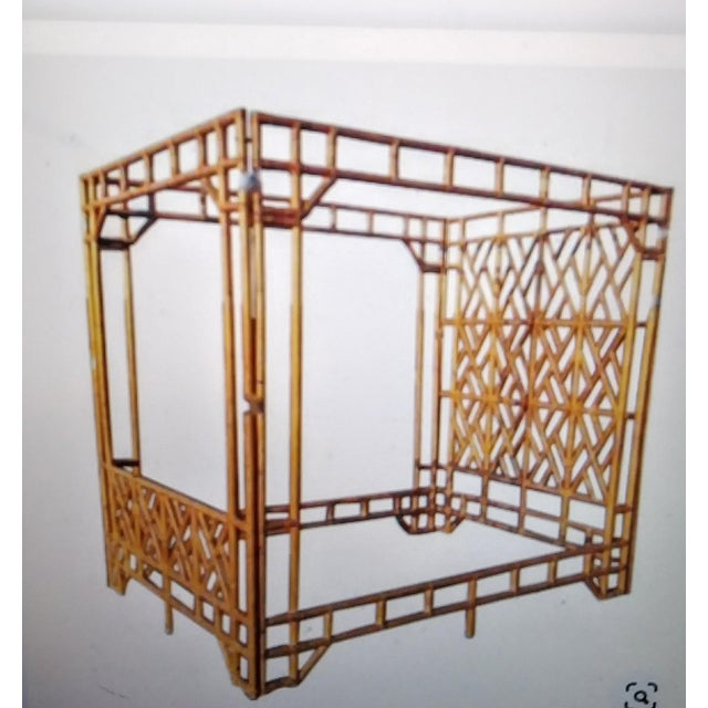 Amber Vintage 70's Monumental Bamboo Chinese Chippendale Palm Beach Regency Canopy Queen Size Bed Frame For Sale - Image 8 of 9