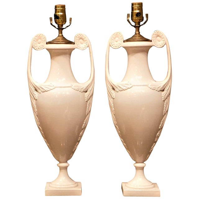 1930s Continental White Faience Urn Table Lamps-a Pair For Sale