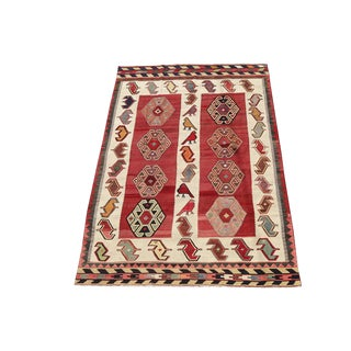 Mid 19th Century Antique Turkish Vegetable Dyed Wool Kilim Rug - 5′5″ × 8′4″ For Sale