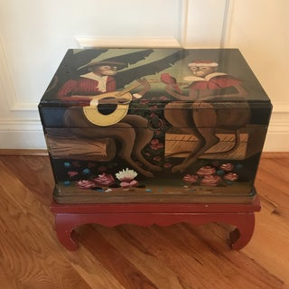 Hand Painted Lacquered Monkey Storage Chest on Base Preview