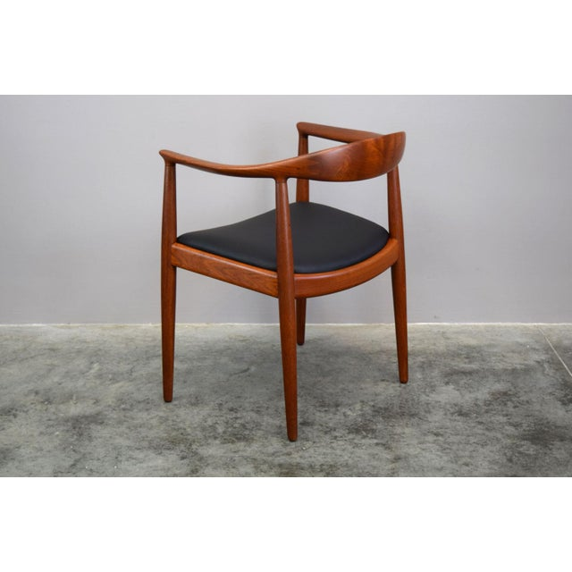 1950s Early Hans Wegner for Johannes Hansen Jh-503 'The Chair' in Teak & Leather For Sale - Image 5 of 13