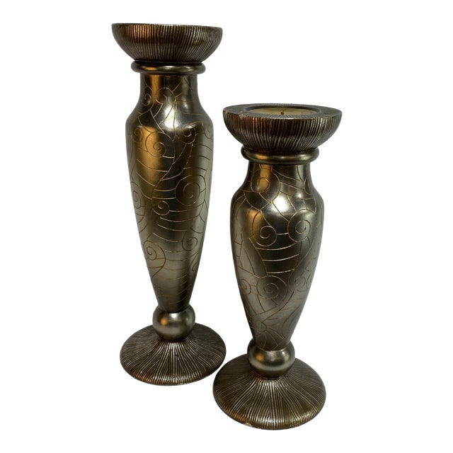Silver Leaf Artmax Candlesticks - a Pair For Sale