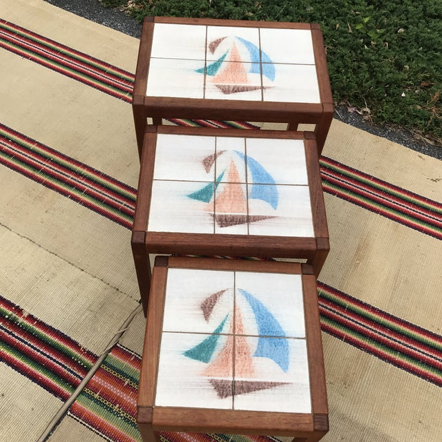 1970s Danish Modern Teak and Tile Top Nesting Tables - Set of 3 For Sale - Image 4 of 13
